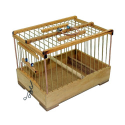 Fatih-Pet - Ahşap Telli Mini Taşıma Kafes 15x22x17 cm