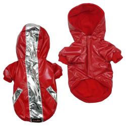 Fatih-Pet - Boxer Kapüşonlu Köpek Mont Desenli Kırmızı 6 lı Set