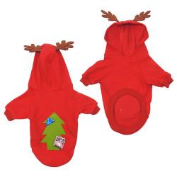 Fatih-Pet - Kapüşonlu Geyik Boynuzlu Noel Sweatshirt Kırmızı 5 li